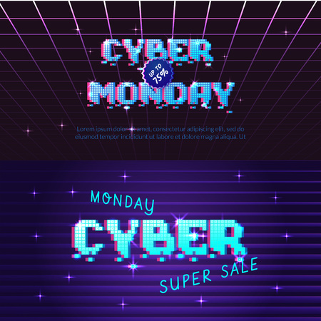 Cyber monday store promotion banner. Can be used as advertising, flyer Иллюстрация