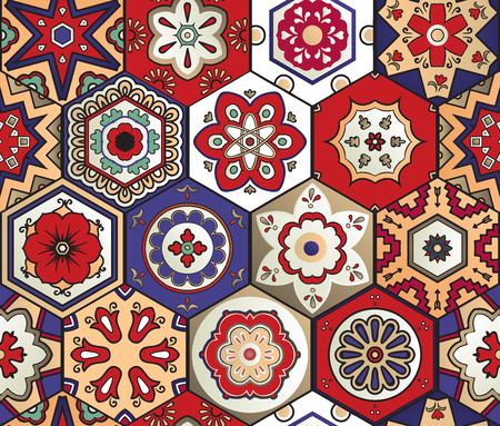 Hexagonal talavera tile seamless pattern. Spanish motif. Traditional tile design