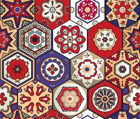 Hexagonal talavera tile seamless pattern. Spanish motif. Traditional tile design