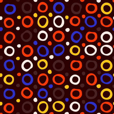 Circles and dots seamless pattern. Abstract colorful design