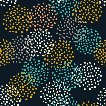 Many dots circles seamless pattern. Abstract dandelion flowers Иллюстрация