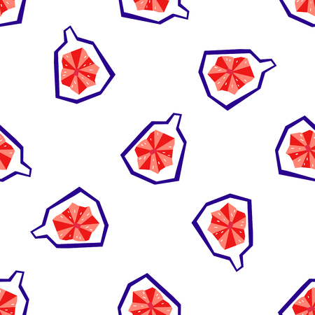 Exotic fig fruit seamless pattern. Stylized geometric design