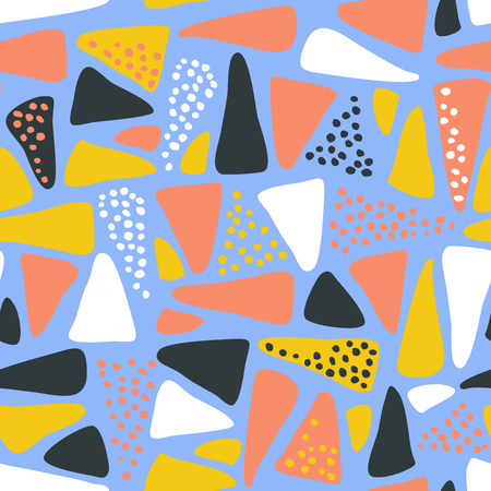 Colorful triangles seamless pattern with dots