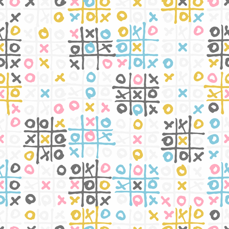 Tic tac toe kids game colorful seamless pattern Иллюстрация