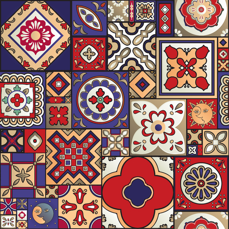 Talavera tile seamless pattern. Spanish motif. Traditional tile design