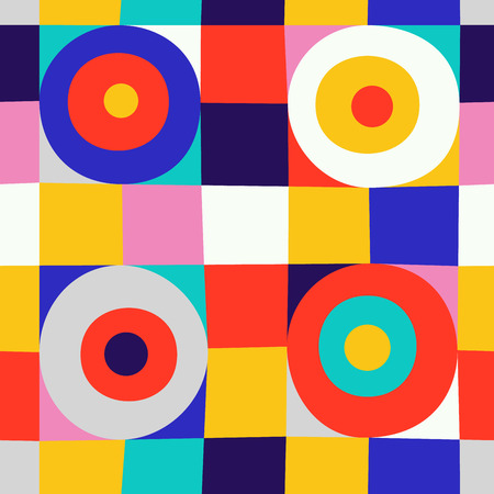 Abstract circles on square seamless pattern. Colorful background