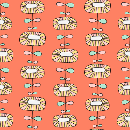Simple scandinavian seamless pattern with doodle flower