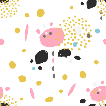 Abstract floral seamless pattern with dots and elements