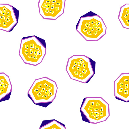 Exotic passion fruit seamless pattern. Stylized geometric design