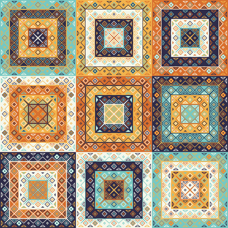 Traditional motif seamless carpet pattern. Rhombus and triangles elements