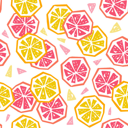 Half lemon and grapefruit seamless pattern. Stylized fruit geometric design 矢量图像