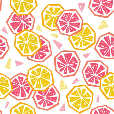 Nahtloses Muster aus halber Zitrone und Grapefruit. Geometrisches Design der stilisierten Frucht