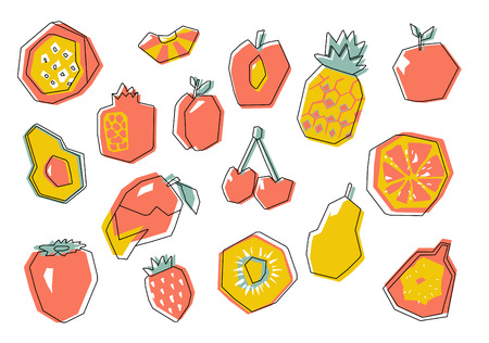 Big abstract fruit set. Stylized geometric design