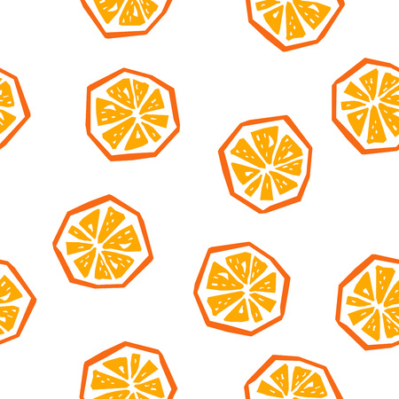 Half orange seamless pattern. Stylized fruit geometric design Иллюстрация