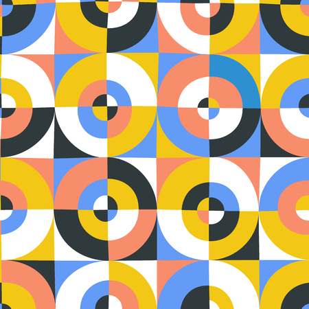 Abstract cutted circles by square seamless pattern.