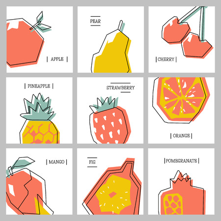 Collection of cards with abstract geometric fruits.