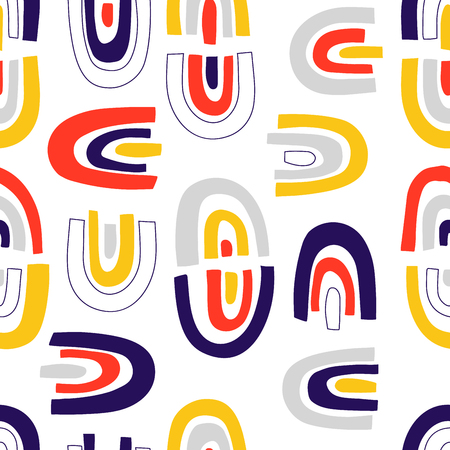 Modern vector abstract seamless geometric pattern in scandinavian style.