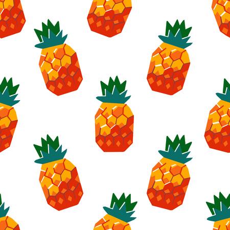 Exotic pineapple fruit seamless pattern. Stylized geometric design Иллюстрация