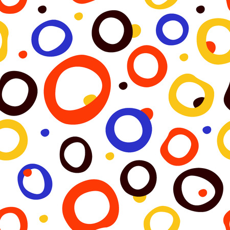 Abstract bright seamless pattern with dots and circles