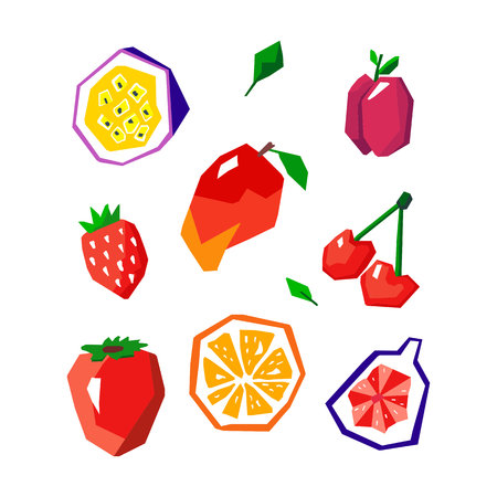 Exotic fruit set. Stylized geometric design Иллюстрация