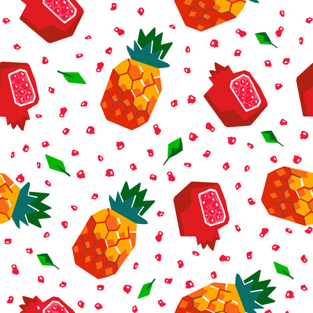 Exotic fruit seamless pattern. Stylized pineapple and pomegranate geometric design
