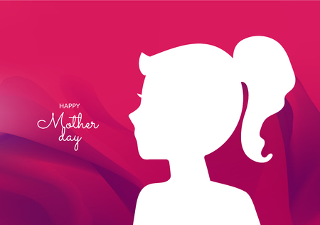 International woman day and mother day greeting card with abstract young girl silhouette