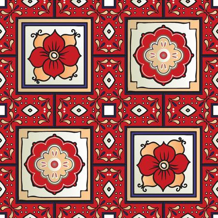 Talavera tile seamless pattern. Spanish motif. Traditional tile design