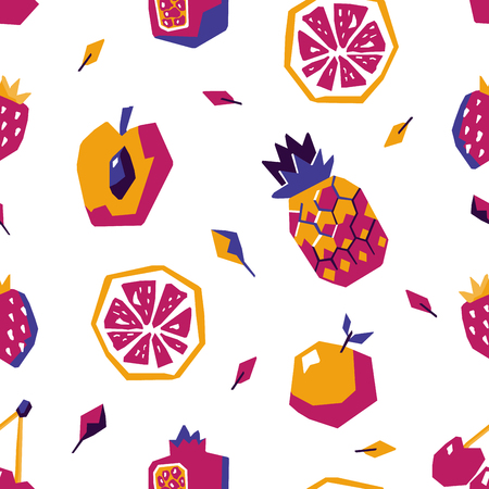 Sweet fruit abstract seamless pattern. Stylized geometric design