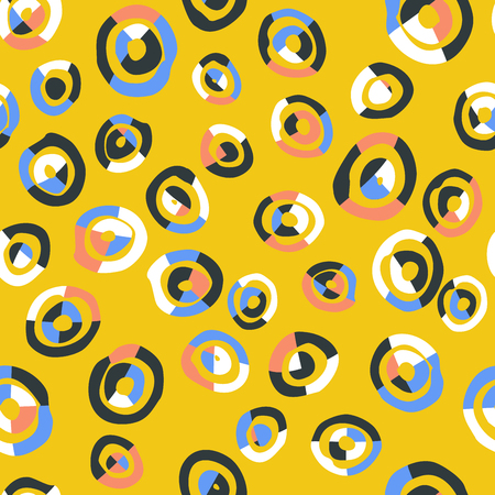 Colorful abstract seamless pattern with cutted circles Иллюстрация