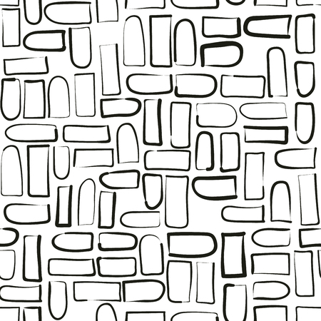 Modern vector abstract seamless geometric pattern with hand drawn figures