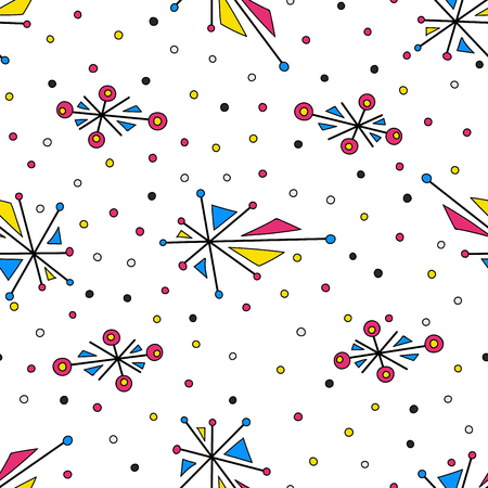 Abstract geometric elements with dots. Seamless pattern