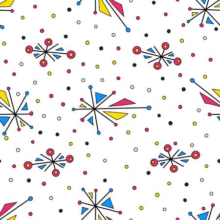 Abstract geometric elements with dots. Seamless pattern Фото со стока - 115060905