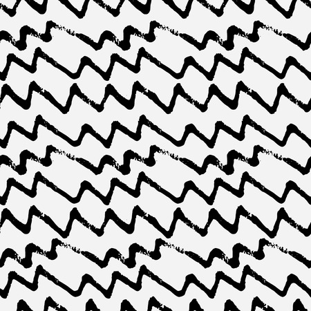 hand drawn zig zag lines. Monochrome seamless pattern