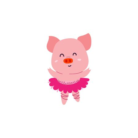 Cute little dancer pig character. 2019 symbol
