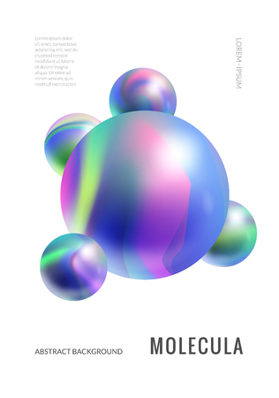 Minimalistic cover design with marble breads abstract molecule. Vertical A4 poster template Фото со стока - 127395603