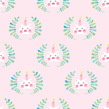 Cute unicorn pig with blush seamless pattern