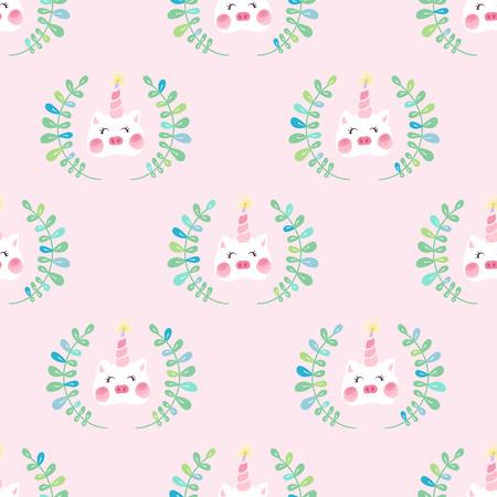 Cute unicorn pig with blush seamless pattern Фото со стока - 127395604