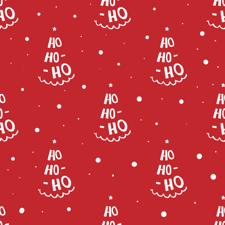 Ho ho ho lettering hand written compositions. Simple seamless pattern for wrapping paper