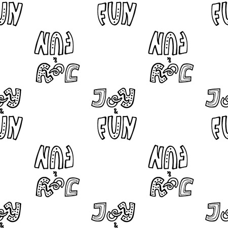 Joy and fun lettering hand written compositions. Simple seamless pattern for wrapping paper