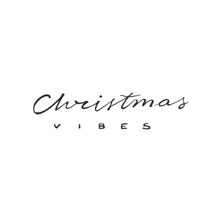 Christmas vibes modern lettering. Can be used for print, greeting cards, t-shirts and photo overlays. Фото со стока - 127395613