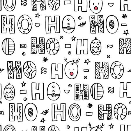 Ho ho ho doodle lettering. Seamless pattern for wrapping paper Иллюстрация