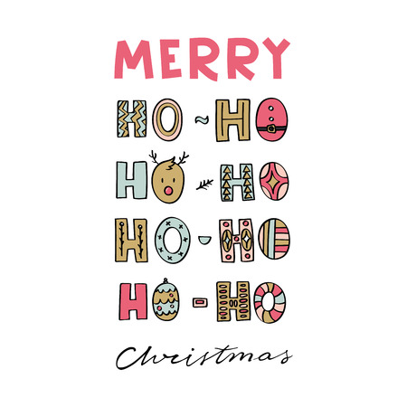Merry Christmas modern lettering with ho-ho-ho illustration. Can be used for print, greeting cards, t-shirts and photo overlays. Иллюстрация