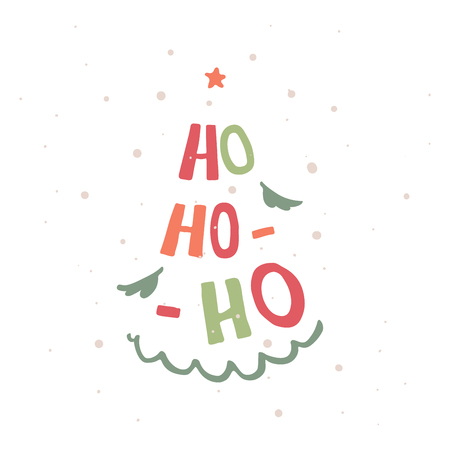 Ho-ho-ho modern lettering. Christmas tree silhouette. Can be used for print, greeting cards, t-shirts and photo overlays. Фото со стока - 127395620