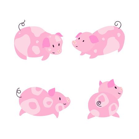 Cute little pig characters with spots illustration set. 2019 symbol Фото со стока - 127395621