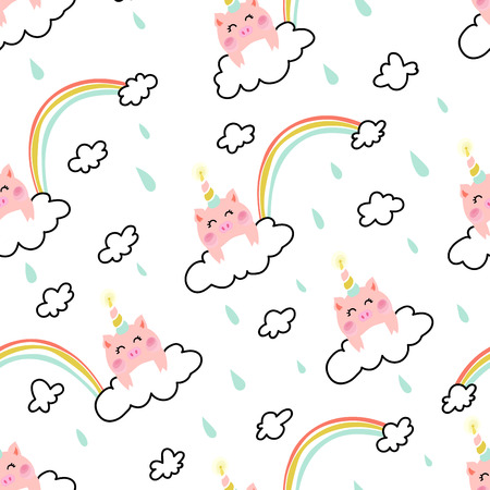 Unicorn pig on the cloud with rainbow and rain seamless pattern Иллюстрация