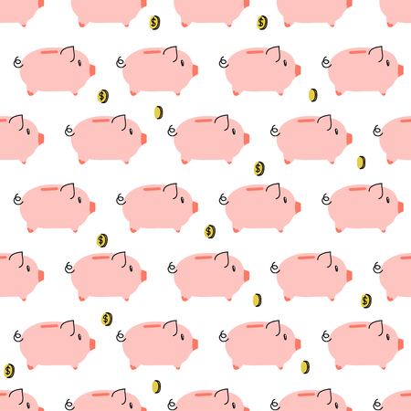 Piggy bank with coin simple seamless pattern