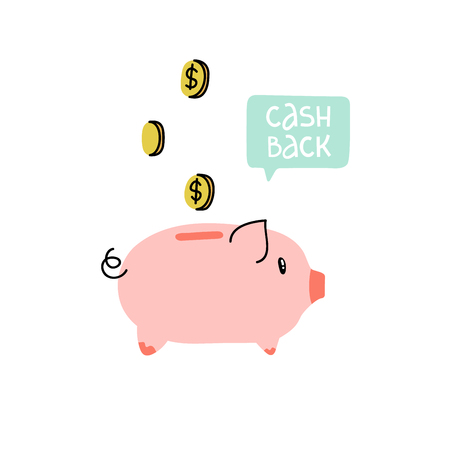 Piggy bank with coins and speech bubble. Cash back poster,