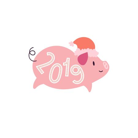 Illustration of pig with santa hat and 2019. Year symbol Иллюстрация