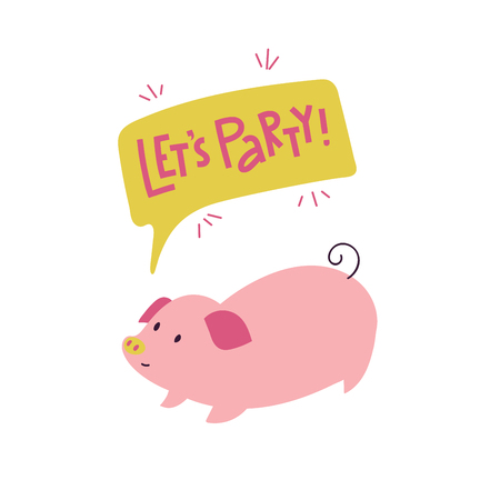 Let's party print with adorable playful piggy. Can be used for print, greeting cards, t-shirts