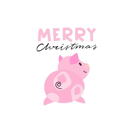 Merry Christmas lettering with piggy illustration. Can be used for print, greeting cards, t-shirts